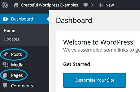 Posts and Pages side links in the WordPress editor