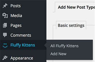 New Custom Post Type listed in the left hand menu within WordPress