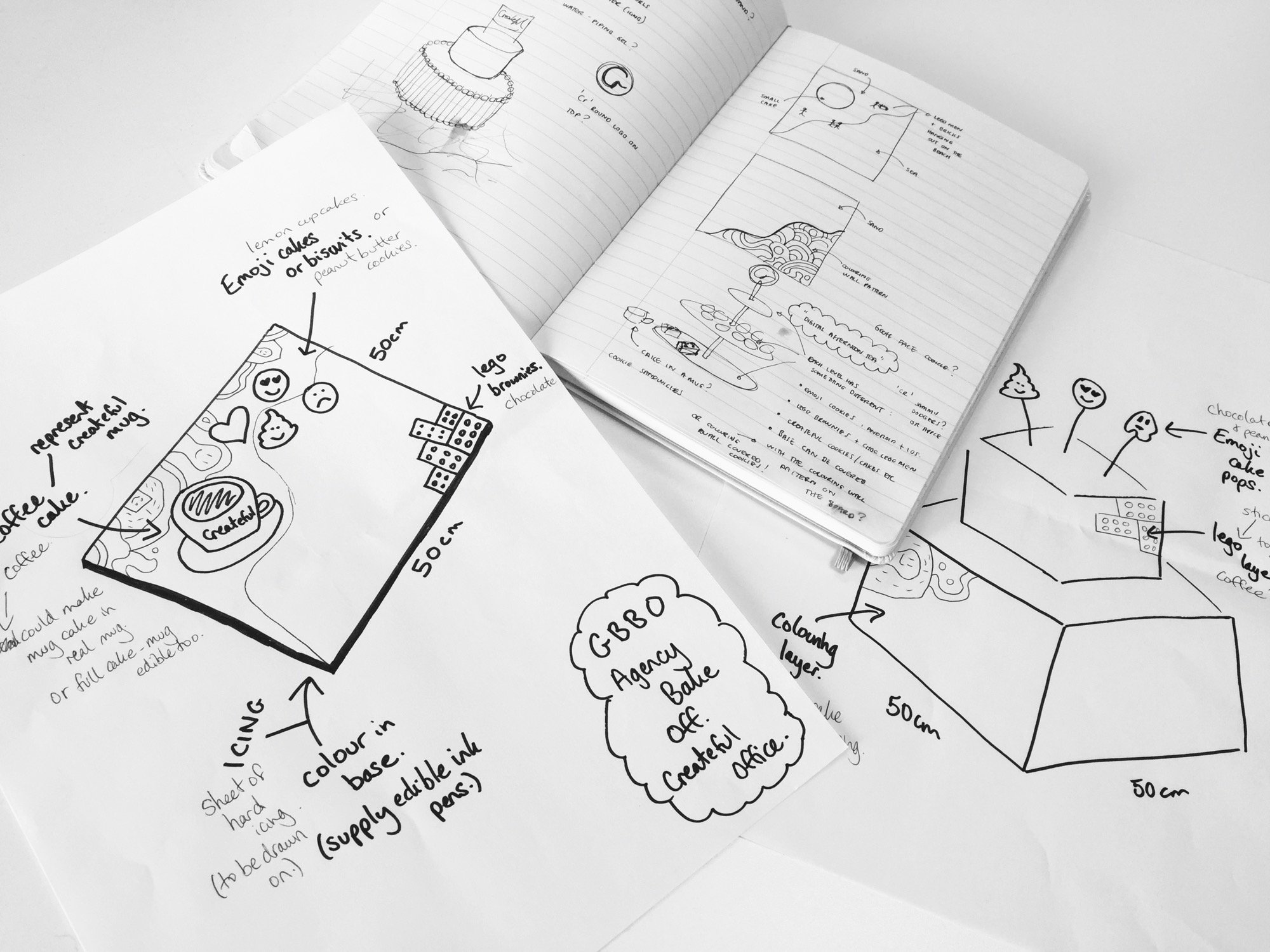 Initial sketches for the Love Cake Agency Bake Off