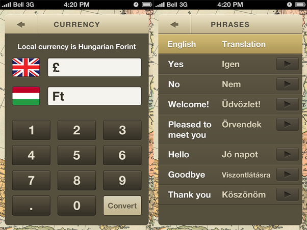 The currency converter and phrases screens