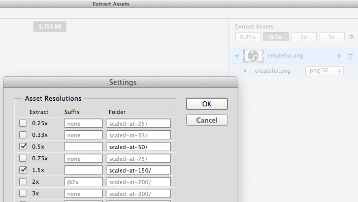 Photoshop 'Extract Assets' screen