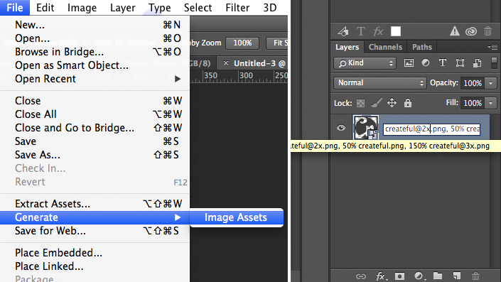 Turning on Generator in Photoshop and naming layer to save out different sized assets