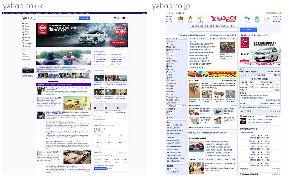 Yahoo website UK and Japanese versions