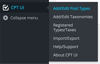 Custom Post Types UI menu