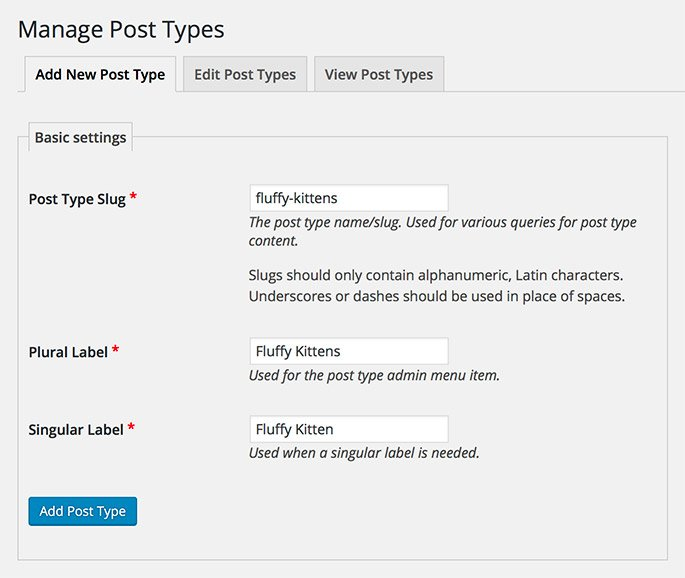 Creating a new Custom Post Type in WordPress using the CPT UI plugin