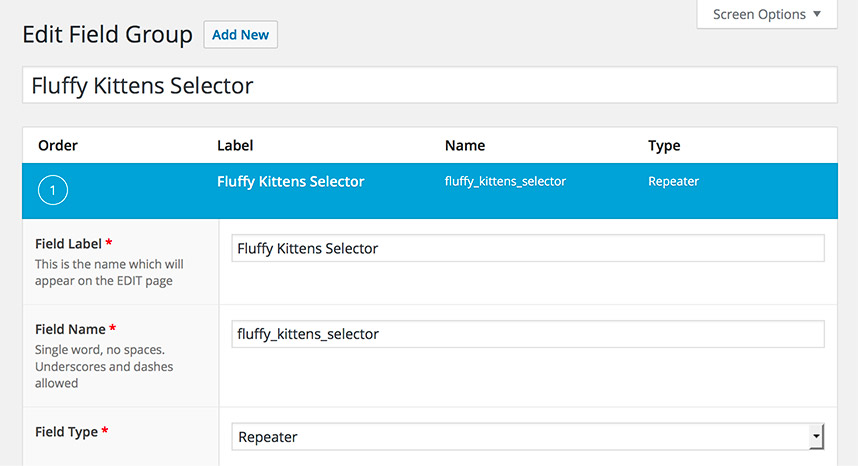 Creating a Repeater field with WordPress Custom Fields plugin