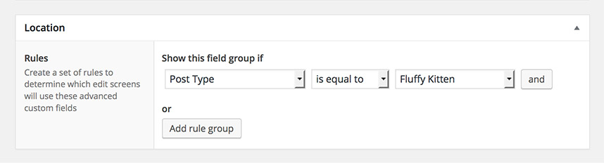 Custom Fields rule group selector
