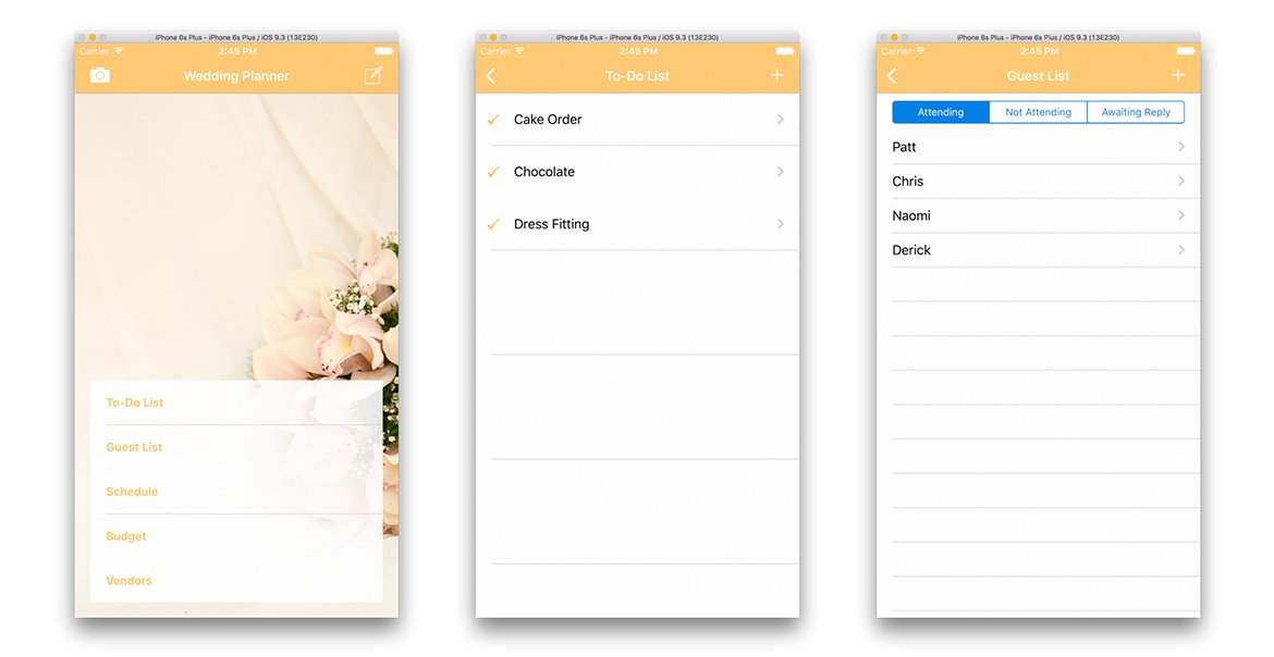 Wedding Planner for iPhone prototype screens