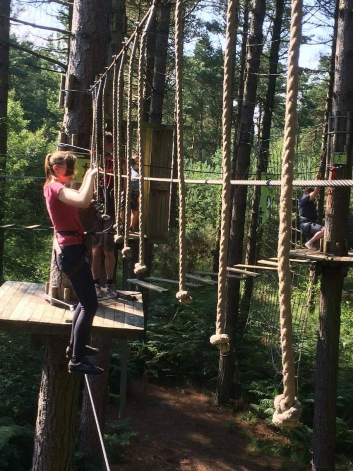 Michelle on the high ropes at Moors Valley