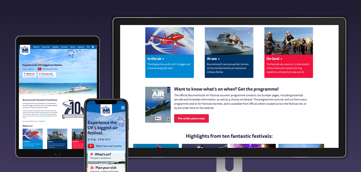 Our award-winning design for the Bournemouth Air Festival