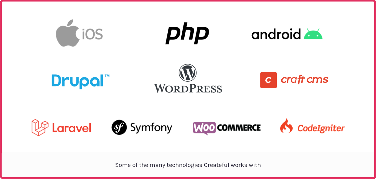 Some of the many technologies Createful works with: iOS, PHP, Android, Drupal, WordPress, Craft CMS, Laravel, Symfony, WooCommerce, CodeIgniter, and more